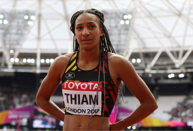 Belgium's Nafissatou Thiam looks on between attempts in the high jump of the heptathlon during the World Athletics Championships in London Saturday, Aug. 5, 2017. (AP Photo/Leonore Schick)