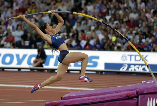 Venezuela's Robeilys Peinado makes an attempt in the women's pole vault final during the World Athletics Championships in London Sunday, Aug. 6, 2017. (AP Photo/Matt Dunham)