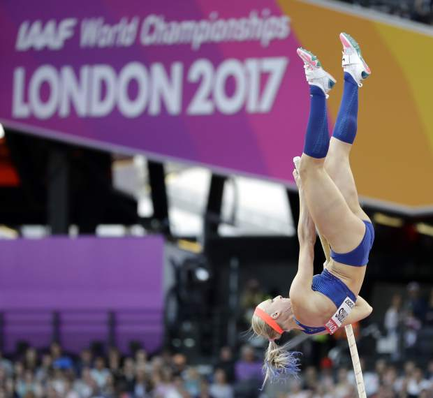 United States' Sandi Morris makes an attempt in the women's pole vault final during the World Athletics Championships in London Sunday, Aug. 6, 2017. (AP Photo/Matthias Schrader)