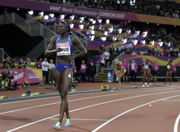 United States' Tori Bowie celebrates after winning the women's 100m final during the World Athletics Championships in London Sunday, Aug. 6, 2017. (AP Photo/Matt Dunham)