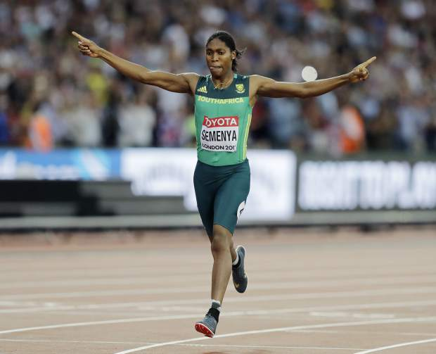 South Africa's Caster Semenya crosses the finish line to win the women's 800 m final during the World Athletics Championships in London Sunday, Aug. 13, 2017. (AP Photo/Tim Ireland)