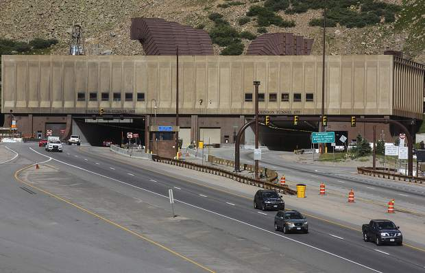 Traffic passes through Interstate 70 via Eisenhower Tunnel Tuesday.