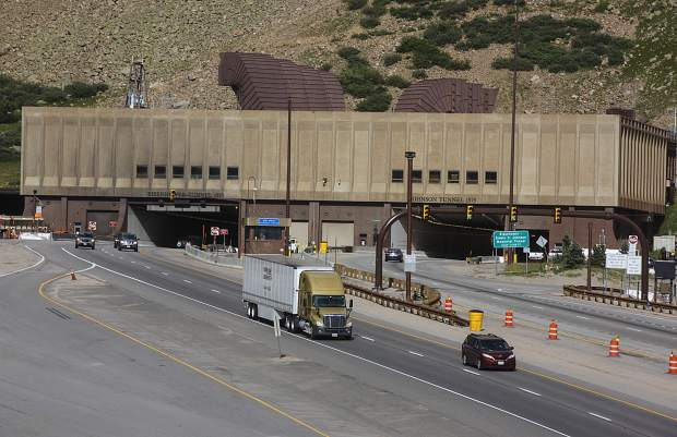 Traffic passes through Eisenhower Tunnel.