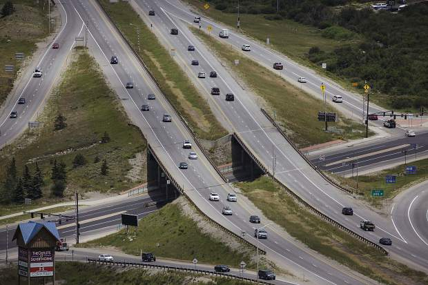 Traffic passes through the intersection of Interstate 70 and Highway 6 Wednesday.
