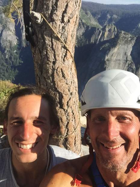 Tobin and Lynn Sanson celebrate at the summit of El Capitan in Yosemite National Park.