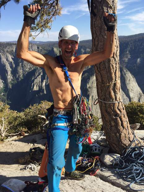 Lynn Sanson celebrates after summiting the nose of El Capitan in Yosemite National Park. Sanson had attempted the climb several times before.