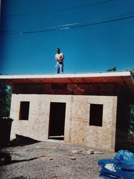 2001: Chuck Malloy and resident artists Albion Stafford and Steven Colby , pictured,construct the resident artist studios.