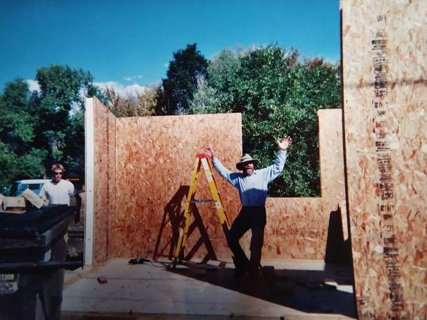 Fall 2001: Chuck Malloy and Albion Stauffer (in white) help build the artist in residence semi-private studio