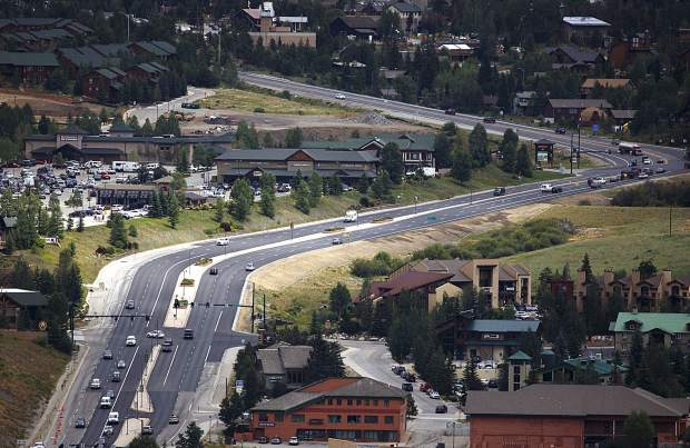 Traffic passes through a newly repaved State Highway 9-U.S. Highway 6 in Dillon on Wednesday, July 26. The CDOT project is the site of repeated improper erosion controls by the contractor that has led to illicit chemical spills into local drainages.