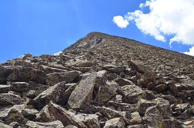Looking up the steep boulder yard towards the summit of Mount Guyot. The boulders here defied logic, moving underfoot without any warning.