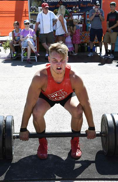 Jesse Duplesys of New Castle focuses all his energy in lifting the 405 pounds in the deadlift portion of the Strongman Competiton Sunday in Rifle.