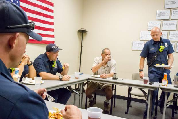 Peter Harbelis delivered lunch to the Glenwood Springs Fire Department Thursday after a heart attack landed him in the care of the paramedics. and EMS crew.