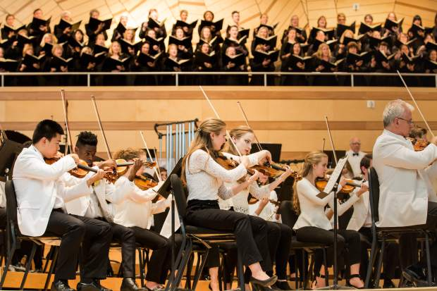 The Aspen Festival Orchesra and Colorado Symphony Orchestra Chorus photographed at last summer's closing Sunday concert.