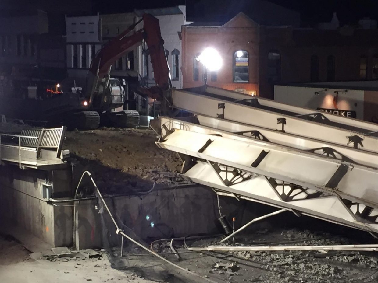 This is how girders from the old Grand Avenue bridge landed Tuesday evening.
