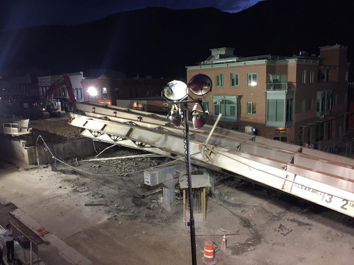 These are the girders that fell Tuesday evening during demolition of the Grand Avenue bridge.