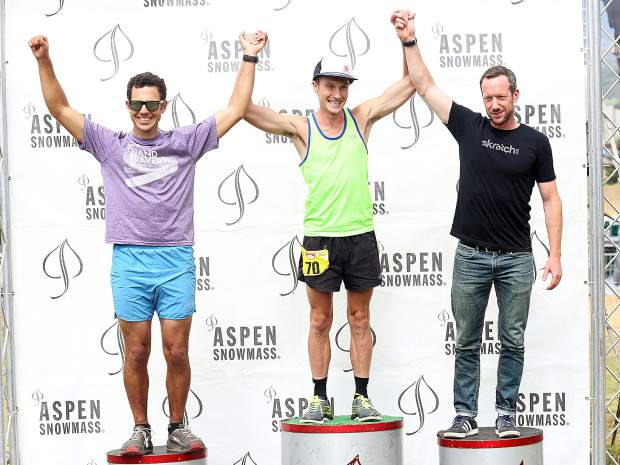 Carbondale's Sean Van Horn, center, celebrates Sunday in Snowass after locking up the Audi Power of Four Race Series Triple Crown title.