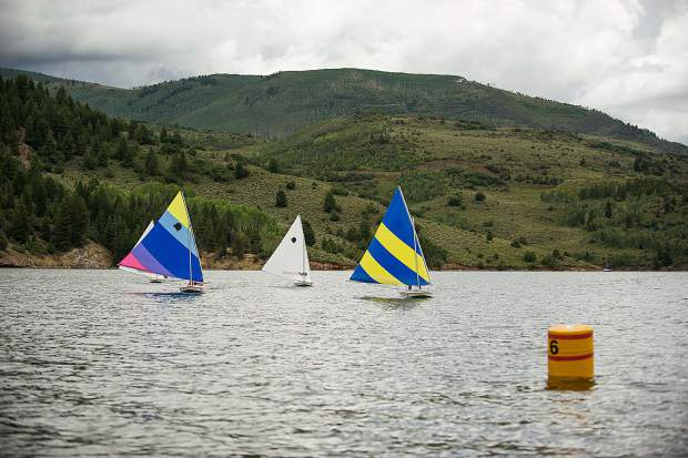 Students participating in the Don Sheeley Sailing School on Ruedi Reservoir Tuesday afternoon
