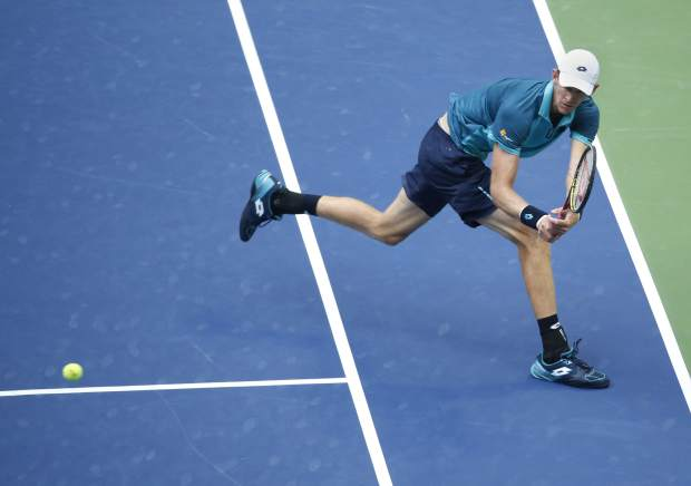 Kevin Anderson, of South Africa, returns a shot from Rafael Nadal, of Spain, during the men's singles final of the U.S. Open tennis tournament, Sunday, Sept. 10, 2017, in New York. (AP Photo/Seth Wenig)