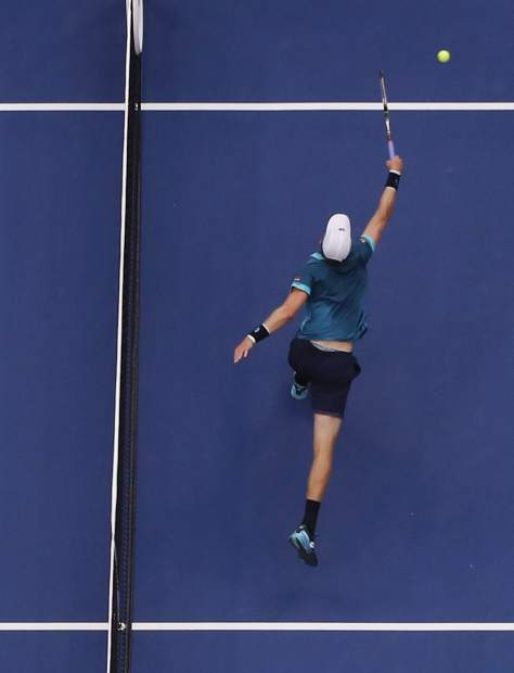 Kevin Anderson, of South Africa, misses a shot from Rafael Nadal, of Spain, during the men's singles final of the U.S. Open tennis tournament, Sunday, Sept. 10, 2017, in New York. (AP Photo/Julie Jacobson)