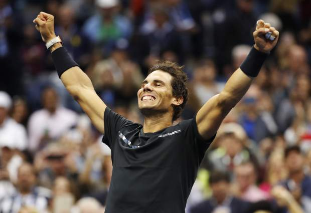 Rafael Nadal, of Spain, reacts after beating Kevin Anderson, of South Africa, to win the men's singles final of the U.S. Open tennis tournament, Sunday in New York.