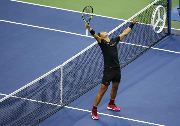 Rafael Nadal, of Spain, reacts after beating Kevin Anderson, of South Africa, to win the men's singles final of the U.S. Open tennis tournament, Sunday, Sept. 10, 2017, in New York. (AP Photo/Seth Wenig)