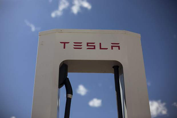 A Tesla charging station at the Outlets at Silverthorne, on Monday, Sept. 18.