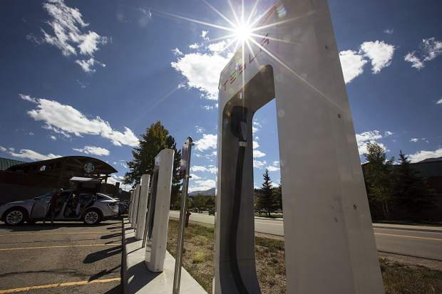 Tesla charging stations at the Outlets at Silverthorne have been in place since October 2013. New federal money from a settlement with Volkwagen is likely to establish at least 60 new electric vehicle stations in the state, including along Insterstate 70 through the High Country.