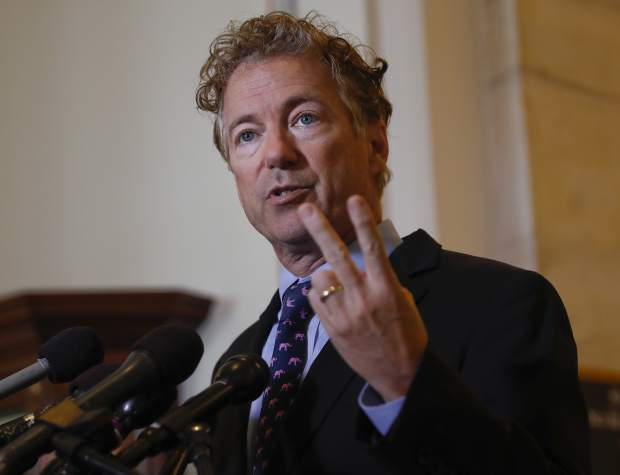 Sen. Rand Paul, R-Ky., speaks during a news conference on Capitol Hill in Washington, Monday, Sept. 25, 2017. Paul says he will not vote for the latest Republican health car bill, calling last-minute changes that would send more money to his state and those of other undecided senators as