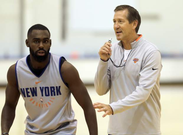 New York Knicks' Jeff Hornacek, right, and Tim Hardaway Jr. participate during NBA basketball practice in Greenburgh, N.Y., Tuesday, Sept. 26, 2017. (AP Photo/Seth Wenig)