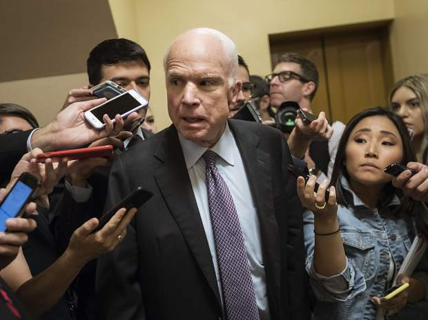 Sen. John McCain, R-Ariz., arrives at the Capitol for a weekly Republican policy meeting, in Washington, Tuesday, Sept. 26, 2017, amid the diminishing, last-ditch GOP push to overhaul the nation's health care system. Looking at the twilight of his career and a grim cancer diagnosis, McCain, who prides himself on an independent streak, could not be moved to go along with the Graham-Cassidy bill. (AP Photo/J. Scott Applewhite)