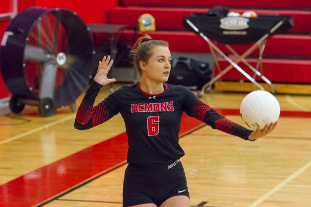 Glenwood senior Cheyenne McLelland prepares to serve the ball during Saturday's game against Roaring Fork in the Demon Invitational.