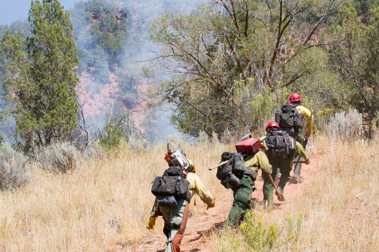 A team of firefighters head up the hillside to battle a fire behind the Wal-Mart parking lot on Saturday afternoon.