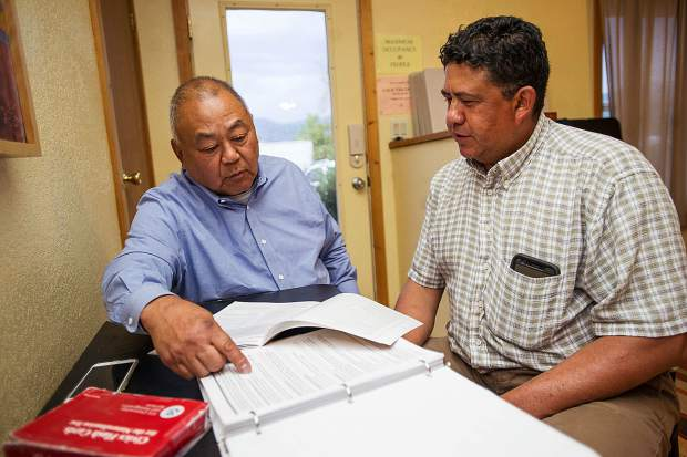Rogerio Ramos, right, and tutor Gary Harada studying English at the English in Action office in El Jebel.
