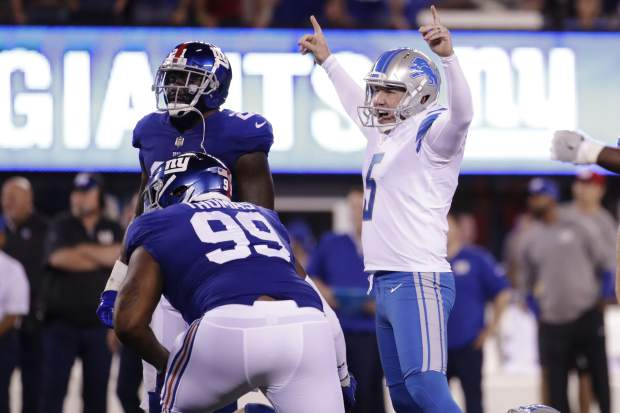Detroit Lions kicker Matt Prater (5) celebrates after kicking a field goal during the first half of an NFL football game against the New York Giants Monday, Sept. 18, 2017, in East Rutherford, N.J. (AP Photo/Julio Cortez)