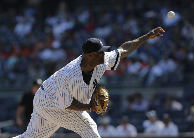 New York Yankees starting pitcher CC Sabathia throws during the second inning of a baseball game against the Kansas City Royals at Yankee Stadium, Monday, Sept. 25, 2017, in New York. (AP Photo/Seth Wenig)