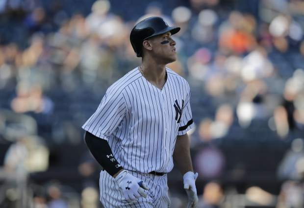 New York Yankees' Aaron Judge during the eighth inning of a baseball game against the Kansas City Royals at Yankee Stadium, Monday, Sept. 25, 2017, in New York. (AP Photo/Seth Wenig)