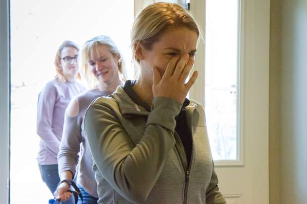 Veteran Sgt. Kirstie Ennis sees the inside of her new home in Ironbridge for the first time.