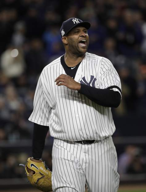 New York Yankees starting pitcher CC Sabathia reacts after getting out of the sixth inning of Game 3 of baseball's American League Championship Series against the Houston Astros Monday, Oct. 16, 2017, in New York. (AP Photo/David J. Phillip)