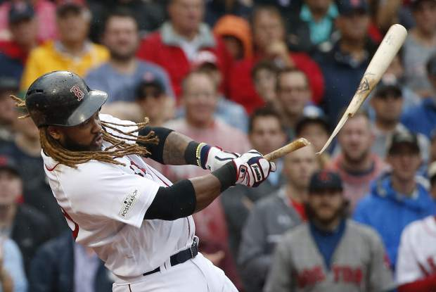 Boston Red Sox designated hitter Hanley Ramirez breaks his bat during the third inning in Game 4 of baseball's American League Division Series against the Houston Astros, Monday, Oct. 9, 2017, in Boston. (AP Photo/Michael Dwyer)