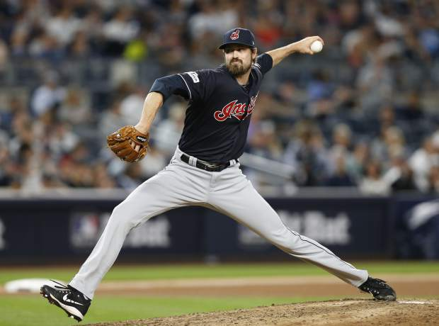 Cleveland Indians pitcher Andrew Miller delivers against the New York Yankees during the seventh inning in Game 3 of baseball's American League Division Series, Sunday, Oct. 8, 2017, in New York. (AP Photo/Kathy Willens)