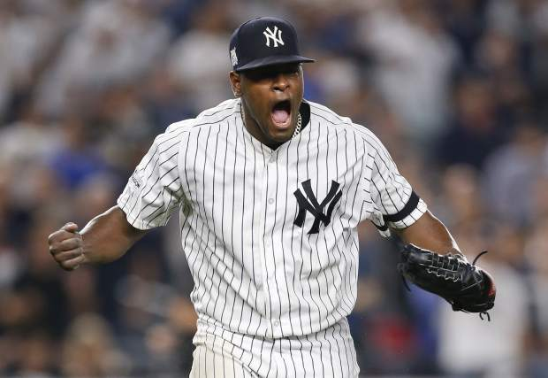 New York Yankees pitcher Luis Severino reacts at the end of the top of the seventh inning against the Cleveland Indians in Game 4 of baseball's American League Division Series, Monday, Oct. 9, 2017, in New York. (AP Photo/Kathy Willens)