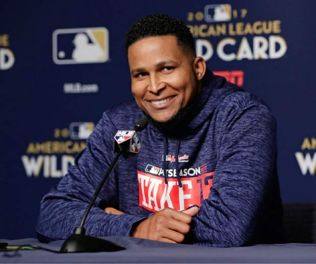 Minnesota Twins starting pitcher Ervin Santana responds to questions during a baseball news conference Monday, Oct. 2, 2017, in New York. The Twins face the New York Yankees in the American League wild card playoff game on Tuesday. (AP Photo/Frank Franklin II)