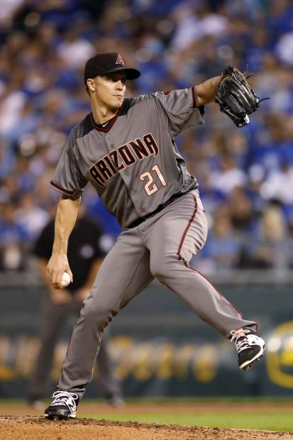 Arizona Diamondbacks pitcher Zack Greinke throws to a Kansas City Royals batter in the first inning of a baseball game at Kauffman Stadium in Kansas City, Mo., Friday, Sept. 29, 2017. (AP Photo/Colin E. Braley)