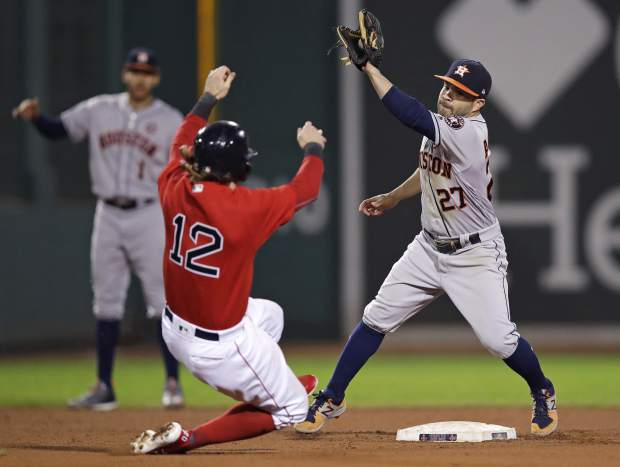 Houston Astros second baseman Jose Altuve (27) catches the throw as he sets to tag out Boston Red Sox's Brock Holt on an attempted to steal second during the eighth inning of a baseball game at Fenway Park in Boston, Friday, Sept. 29, 2017. The Red Sox challenged the play, but the original call was upheld. (AP Photo/Charles Krupa)