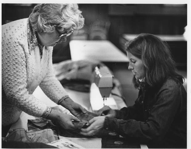 Popular fiber arts instructor Emmy Neil, left, here with a student in Glenwood Springs during the 1970s, was a Colorado Mountain College mainstay. She spent 30 years driving up and down the Roaring Fork Valley, offering crochet and sewing classes.