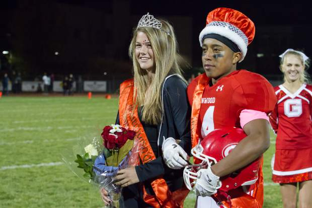 The Glenwood Springs High School 2017 Homecoming King and Queen Luis Mariano and Devan McSwain are presented at the halftime show during Friday night's game at Stubler Memorial Field.