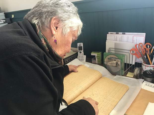 "After the schoolhouse reopened in 2007, a visitor from Hayward, California, donated George Siprelle's diary from his early years in Parachute. Entries date back to the 1880s. ""When I even touch this document, I go, 'George Siprelle must've been a really neat person,'"" Judith Hayward said."