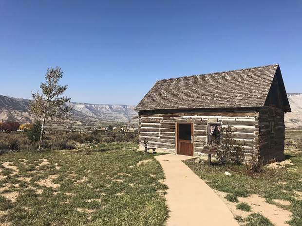This cabin, now dubbed the teacher's cabin, was relocated to the schoolhouse site after it was donated by Williams company. Inside, it shows how someone would've lived in the early days of the area's settlement.