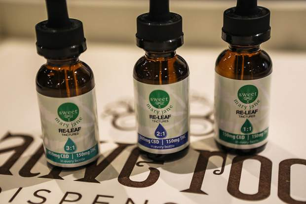 Cannabidiol (CBD) tinctures at Native Roots Thursday, Oct. 19, in Eagle-Vail. Tinctures come in liquid form and can be added to many other things.