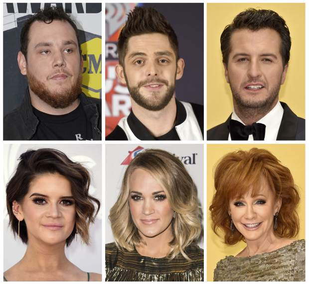 This combination photo shows country performers, top row from left, Luke Combs, Thomas Rhett, Luke Bryan, and from bottom left, Maren Morris, Carrie Underwood and Reba McEntire who took to social media to express their sadness after the mass shooting in Las Vegas at the Route 91 Harvest Festival on Sunday, Oct. 1, 2017. (AP Photo/File)